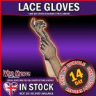 FANCY DRESS COSTUME GLOVES # LACE BLACK GLOVES